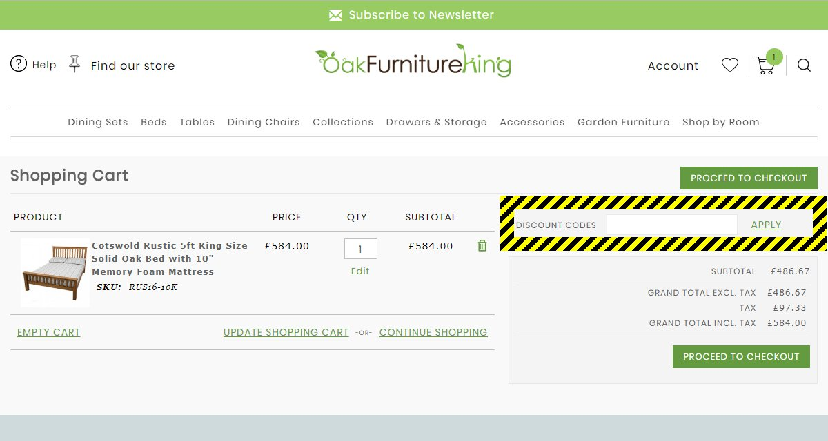 Oak Furniture King Discount Code