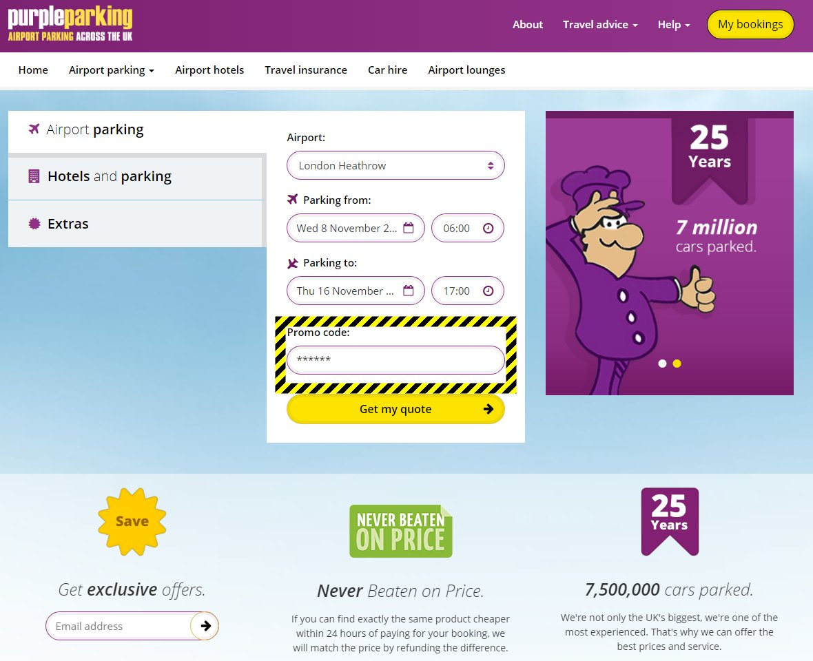Purple parking discount codes august 2018 m4hsunfo